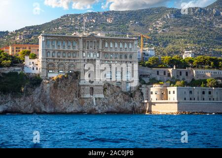 View from the sea of the Oceanographic Museum Aquarium on the coast of Monte Carlo, Monaco, on the French Riviera. - Stock Photo