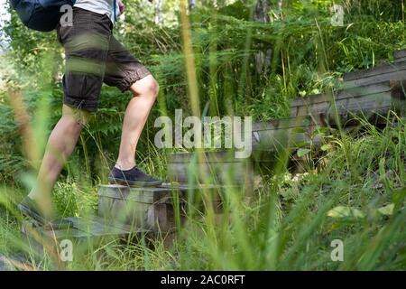 Woman in shorts and sneakers, with an urban backpack, climbs up wooden steps, among tall, green grass, on a sunny summer day. Active lifestyle concept - Stock Photo