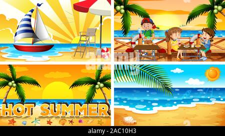 Four background scenes with people on the beach illustration - Stock Photo
