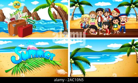 Four background scenes with kids on the beach illustration - Stock Photo