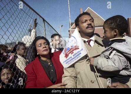 The Reverend Jesse Jackson celebrating the fourteenth Martin Luther King holiday in 1989 with Coretta Scott King and Dexter King in Atlanta, Georgia - Stock Photo