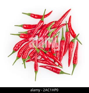 Red cayenne peppers isolated on white background - Stock Photo