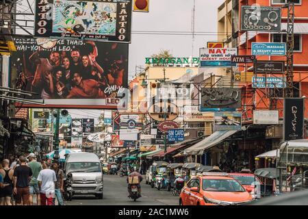Famous backpackers street Khao San Road in Bangkok, Thailand.  - Stock Photo