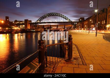 Twilight View of the Tyne Bridge over the River Tyne at Newcastle Upon Tyne, England, United Kingdom. - Stock Photo