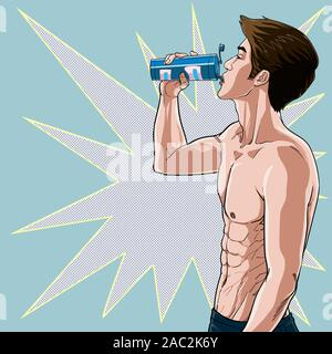 Young men drink water after exercise Add minerals to the body Health Illustration vector On pop art comic style Dot colorful background - Stock Photo