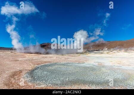 Geysir field  'Sol de Mañana',  Nationa Park Reserva National de Fauna Andina Eduardo Avaroa, Southwest Bolivia, department Potosi, Latin America - Stock Photo
