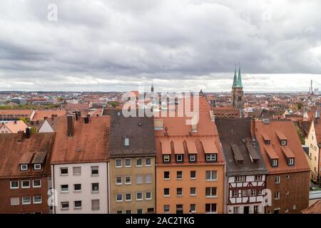 View from Nuremberg castle at the old city of Nuremberg, Bavaria, Germany in autunm - Stock Photo