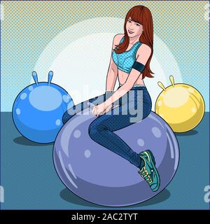 Women exercising with ball balloons fun and happy Illustration vector On pop art comics style Abstract dot colorful wall background - Stock Photo