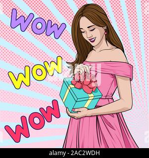 Beautiful girl is happy when receiving a gift Surprised gesture Illustration vector On pop art comics style Abstract dot colorful background - Stock Photo