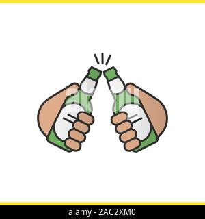 Toasting beer bottles color icon. Cheers. Hands holding beer bottles. Isolated vector illustration - Stock Photo