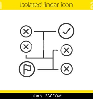 Problem solving concept linear icon. Logistics thin line illustration. Decision making contour symbol. Vector isolated outline drawing - Stock Photo