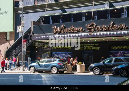 New York, NY - September, 2019: View of the marquee and sign for the famous Winter Garden Theater showing Beetlejuice in the Theater District of Manha - Stock Photo