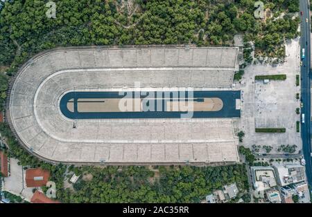 Overhead aerial drone shot of Panathenaic marble stadium in Pangrati, Athens - Stock Photo