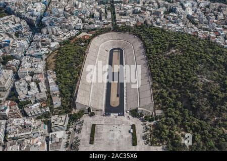 Aerial drone shot of marble Panathenaic Stadium in Pangrati Athens - Stock Photo
