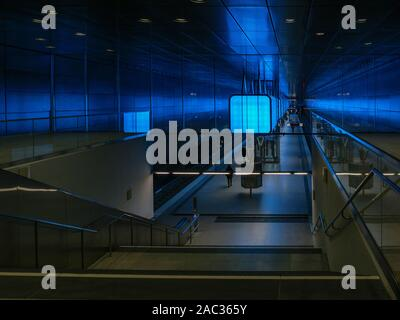 Illuminated Subway station HafenCity Universität, Hamburg, Germany, Europe - Stock Photo
