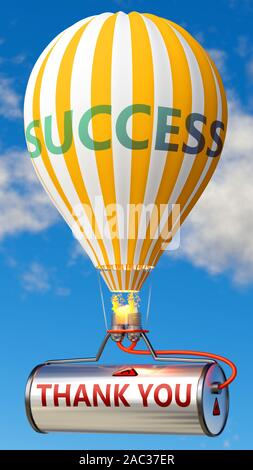 Thank you and success - shown as word Thank you on a fuel tank and a balloon, to symbolize that Thank you contribute to success in business and life, - Stock Photo