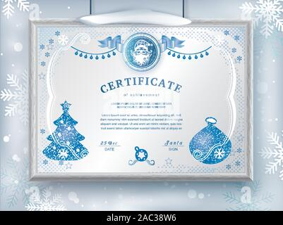 Christmas white certificate with Santa Claus and Christmas decoration. Winter frozen background for New Year congratulations. Blank hanging on wall - Stock Photo