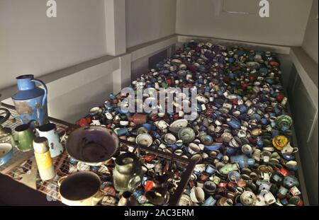 Oswiecim, POLAND. 30th Nov, 2019. A dishes, pots taken away from prisoners seen inside the museum at Auschwitz I camp.In two months, the 75th anniversary of the liberation of Auschwitz. The biggest German Nazi concentration and extermination camp KL Auschwitz-Birkenau was liberated by the Red Army on 27 January 1945. Credit: Damian Klamka/SOPA Images/ZUMA Wire/Alamy Live News - Stock Photo