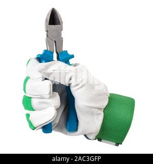 wire cutters in a worker's hand. isolated on a white background. file contains clipping path - Stock Photo