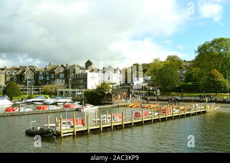 Bowness-on-Windermere is a town on the bank of Lake Windermere in Cumbria - Stock Photo