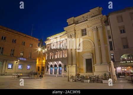 PARMA, ITALY - APRIL 17, 2018:  The baroque church Chiesa di San Pietro and Piazza Garibaldi at dusk - Stock Photo