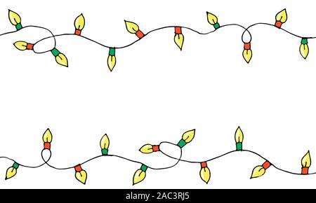 Colorful Hand drawn doodle christmas lights. Cartoon horizontal garland, borders of light bulbs. New Year design elements. Vector seamless pattern with holiday festoons. - Stock Photo