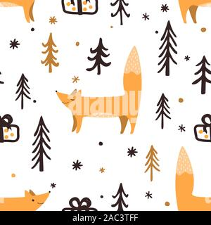 Seamless Christmas pattern with forest trees, present box, and happy foxes. Happy New Year background. Xmas Vector design for winter holidays. - Stock Photo