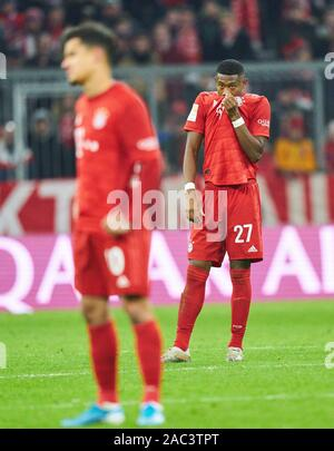 Munich, Germany. 30th Nov, 2019. Football FC Bayern Munich - Leverkusen, Munich November 30, 2019. David ALABA, FCB 27 FC BAYERN MUNICH - BAYER 04 LEVERKUSEN - DFL REGULATIONS PROHIBIT ANY USE OF PHOTOGRAPHS as IMAGE SEQUENCES and/or QUASI-VIDEO - 1.German Soccer League, Munich, November 30, 2019 Season 2019/2020, matchday 11, FCB, München Credit: Peter Schatz/Alamy Live News - Stock Photo