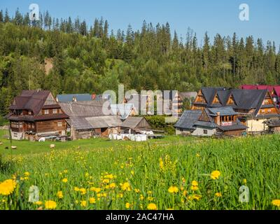 Tatra Mountains, Poland - June 4, 2019: Meadow in a small Polish village in the Tatra Mountains and wooden highlander's huts - Stock Photo