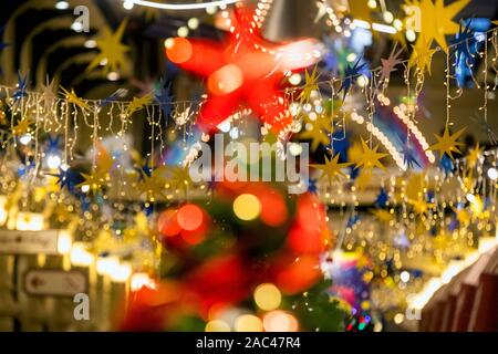 Moscow, Russia. 30th of November, 2019 New Year and Christmas decoration of GUM store near the Red Square in Moscow, Russia - Stock Photo