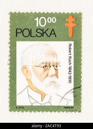 SEATTLE WASHINGTON - October 9, 2019: Used 1982 stamp of Poland, featuring German microbiologist and Nobel laureate Robert Koch, celebrating 100 years - Stock Photo