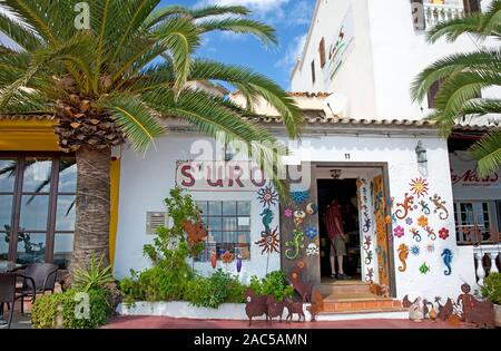 Souvenir shop at harbour promenade of Cala Ratjada, Mallorca, Balearic islands, Spain - Stock Photo