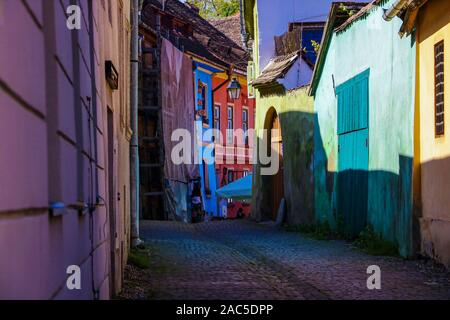 Sighisoara, Romania, May 13, 2019: Old and colorful houses in Sighisoara citadel Medieval architecture - Stock Photo