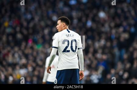 Dele Alli of Spurs during the Premier League match between Tottenham Hotspur and AFC Bournemouth at the Tottenham Hotspur Stadium London, UK - 30th November 2019 Editorial use only. No merchandising. For Football images FA and Premier League restrictions apply inc. no internet/mobile usage without FAPL license - for details contact Football Dataco - Stock Photo