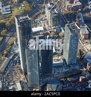 aerial view of Manchester city centre with the Deansgate Square, or Owen Street skyscrapers development, prominent - Stock Photo