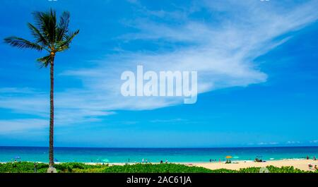 Wide view of Hapuna Beach, along the Big island of Hawaii's Kohala coast. This white sand beach has been rated one of the best beaches in the world ti - Stock Photo