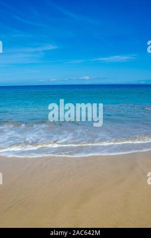 Hapuna Beach, along the Big Island of Hawai'i's Kohala Coast. This white sand beach has been rated one of the best beaches in the world time and time