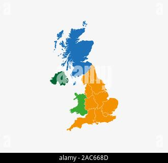 United Kingdom map, states border map. Vector illustration. - Stock Photo