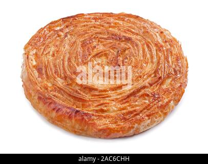 Home made cheese pie on white background - Stock Photo