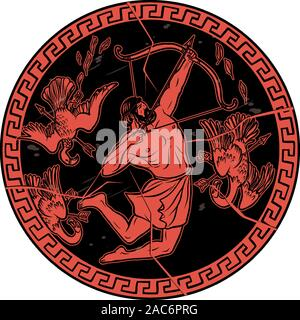 Stymphalian birds. 12 Labours of Hercules Heracles. Myths Of Ancient Greece illustration - Stock Photo