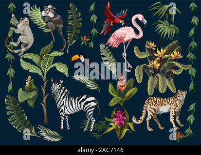 Jungle animals, flowers and trees isolated. Vector. - Stock Photo