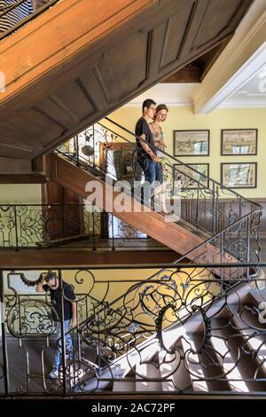 Interior wooden staircase, Goethe House, Goethe Museum in Frankfurt am Main, Hesse, Germany