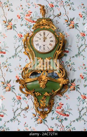 Wall clock and romantic wallpaper in the Cornelia Room, interior furniture at Goethe House, Goethe Museum, Frankfurt am Main, Germany