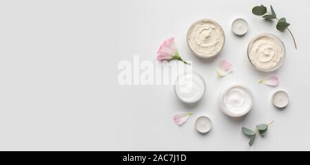 Eco friendly homemade cream for face and skin on white - Stock Photo