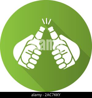 Toasting beer bottles flat design long shadow icon. Cheers. Hands holding beer bottles. Vector silhouette symbol - Stock Photo