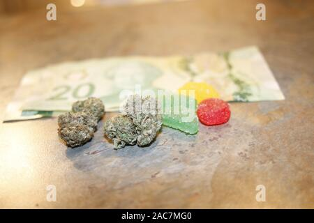Cannabis edibles, medical marijuana, CBD infused gummies and edible pot concept theme with close up on colorful gummy bears and weed buds on dark - Stock Photo