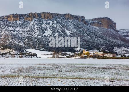 Ollobarren village and  Sierra de Loquiz Mountain range. Navarre, Spain, Europe. - Stock Photo