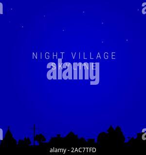 Night village skyline. Village church, house roofs, trees, chimneys, electric or telegraph pole. illustration - Stock Photo