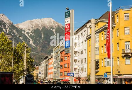 The ornate and colourful residential buildings in the famous Mariahilf district of Innsbruck town, Inn riveside, Austria, Europe - October 26, 2019. - Stock Photo