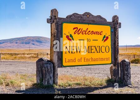 Antonito, CO - October 3, 2019: Welcome to New Mexico Sign near the Colorado - New Mexico Border - Stock Photo